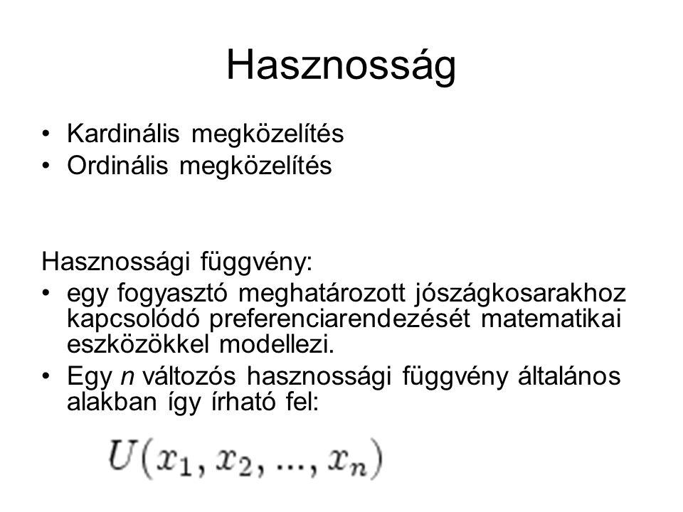 Preferencia relációk Szigorúan preferált: Gyengén preferált : Közömbös: