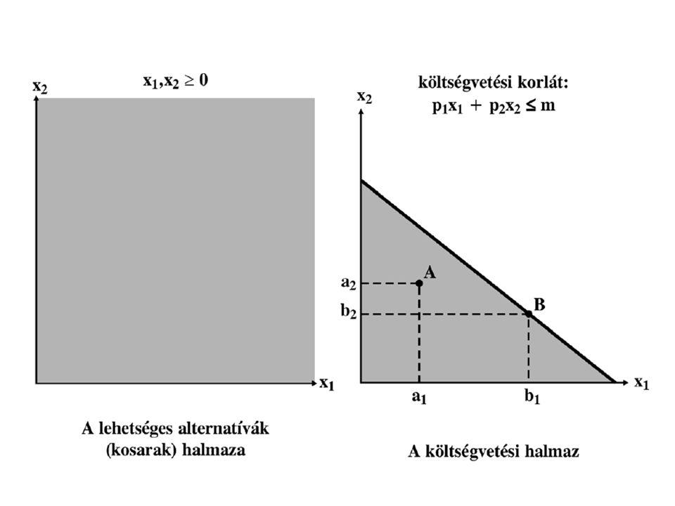 Költségvetési egyenes Költségvetési egyenes egyenlete: A tengelymetszetek értékei: