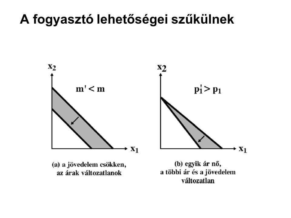 A költségvetési halmaz alakjának megváltoztatása kormányzati beavatkozások révén: adók és támogatások Az adó, illetve támogatás fajtája AdóTámogatás Mennyiségip 1 < p 1 +t; t>0 p 1 > p 1 -s; s>0 Értékarányos p 1 <( 1+  )p 1 ;  >0 p 1 >(1-б)p 1 ; б>0 Egyösszegűm >m-T; T>0 m< m+S; S> 0
