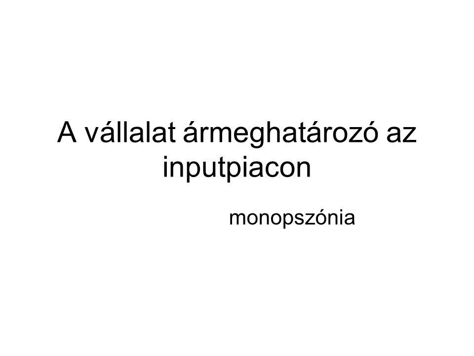 A vállalat ármeghatározó az inputpiacon monopszónia