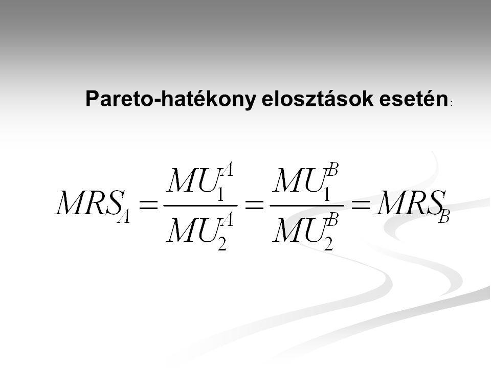Pareto-hatékony elosztások esetén :