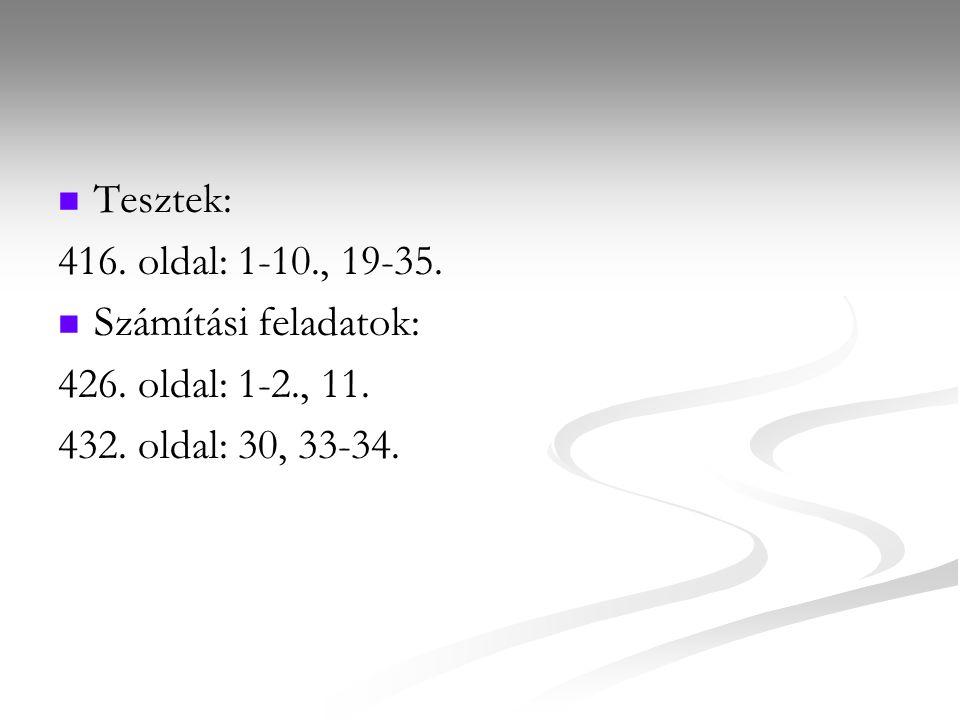 Tesztek: 416. oldal: 1-10., 19-35. Számítási feladatok: 426. oldal: 1-2., 11. 432. oldal: 30, 33-34.