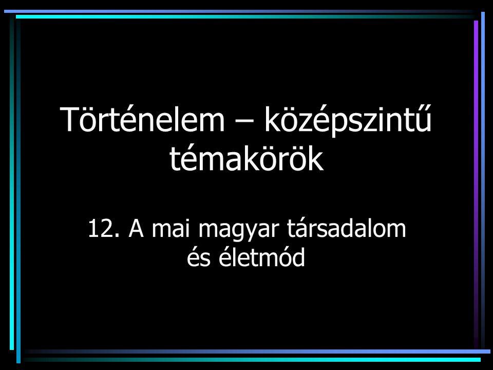 Történelem – középszintű témakörök 12. A mai magyar társadalom és életmód