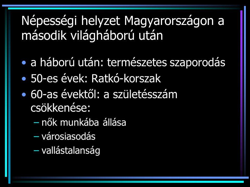 Népességi helyzet Magyarországon a második világháború után a háború után: természetes szaporodás 50-es évek: Ratkó-korszak 60-as évektől: a születéss