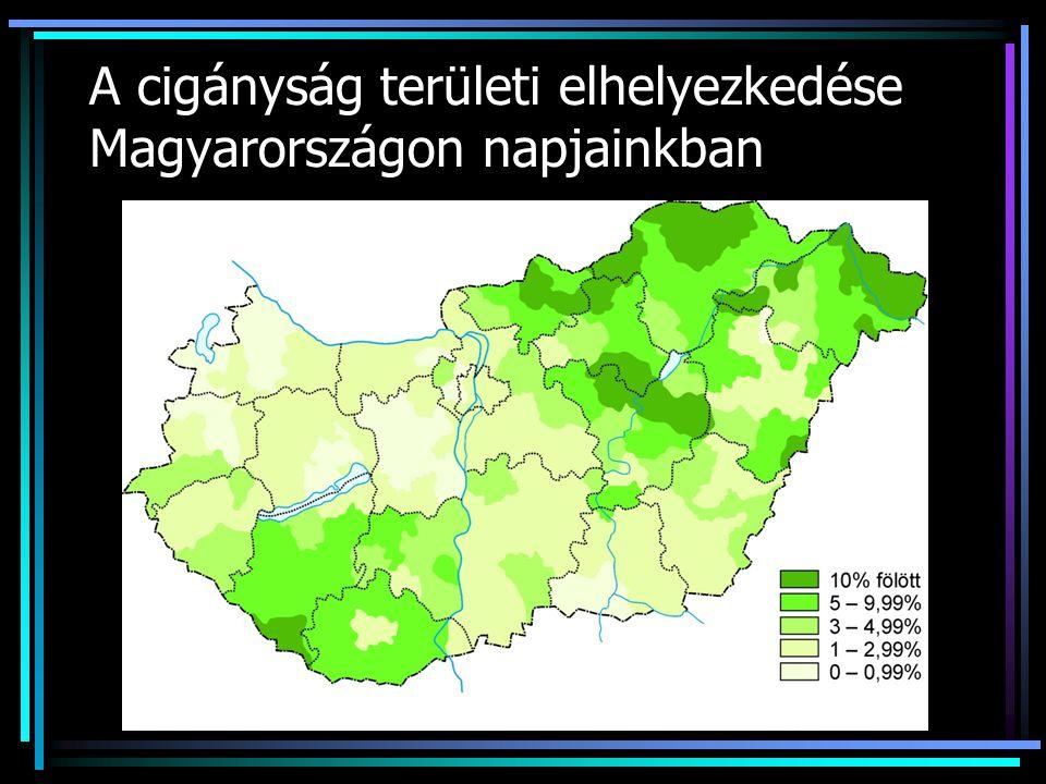 Magyarországi cigányok lélekszáma cigány anyanyelvű cigány nemzetiségű környezete cigánynak tartja 1990.