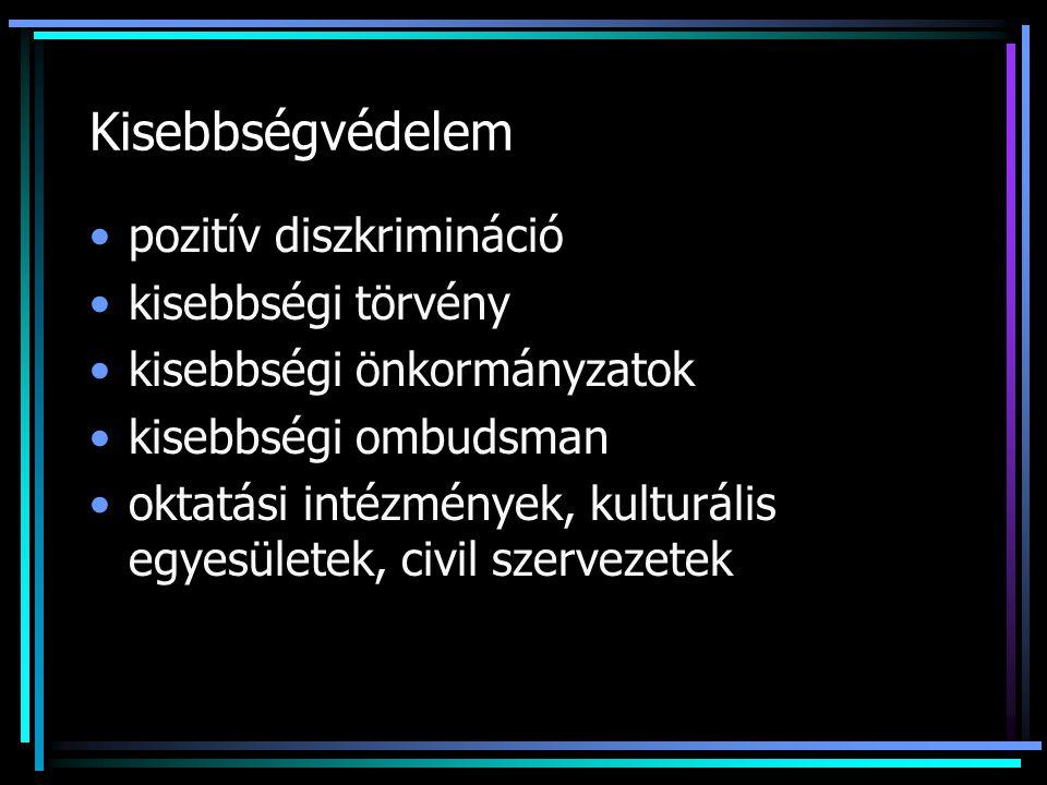 Kisebbségvédelem pozitív diszkrimináció kisebbségi törvény kisebbségi önkormányzatok kisebbségi ombudsman oktatási intézmények, kulturális egyesületek