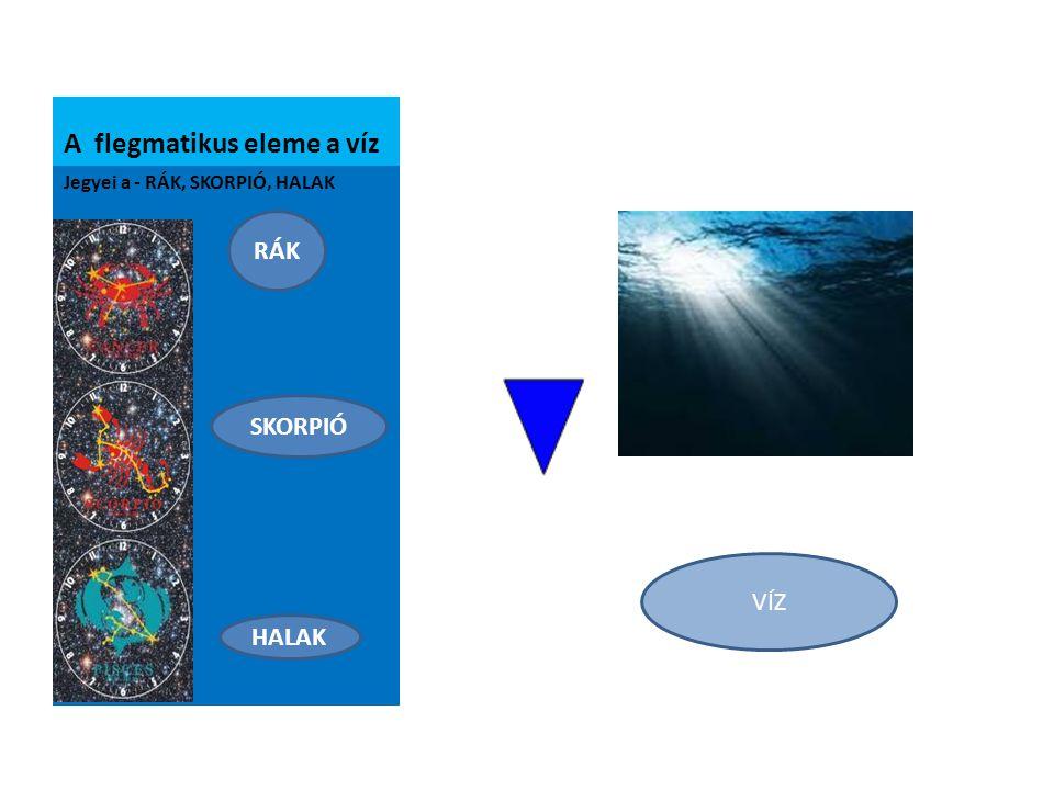 A flegmatikus eleme a víz Jegyei a - RÁK, SKORPIÓ, HALAK VÍZ RÁK SKORPIÓ HALAK