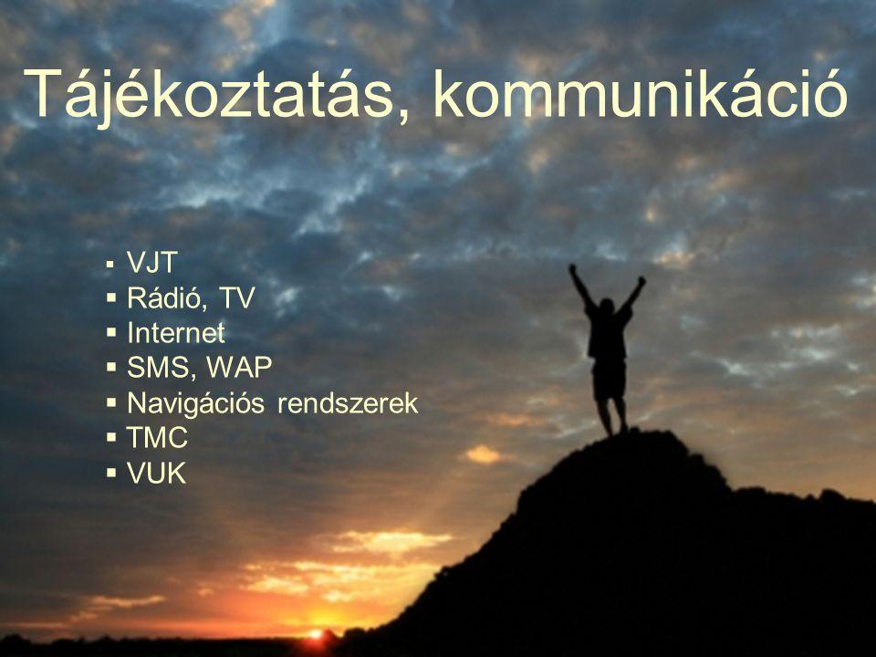 Tájékoztatás, kommunikáció  VJT  Rádió, TV  Internet  SMS, WAP  Navigációs rendszerek  TMC  VUK