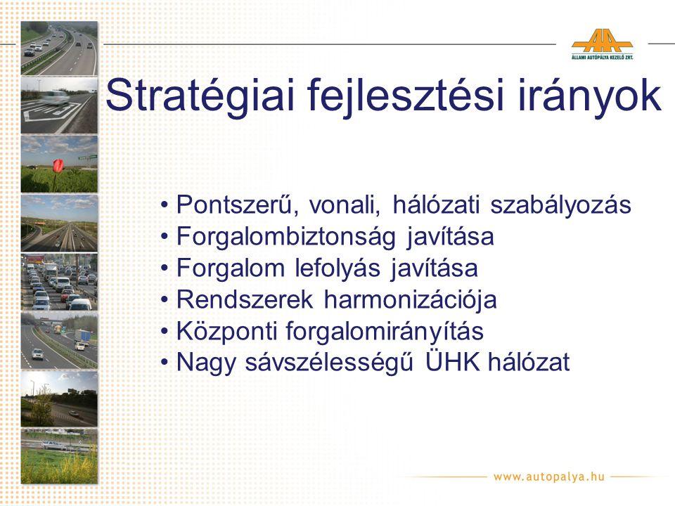 Stratégiai fejlesztési irányok Pontszerű, vonali, hálózati szabályozás Forgalombiztonság javítása Forgalom lefolyás javítása Rendszerek harmonizációja Központi forgalomirányítás Nagy sávszélességű ÜHK hálózat