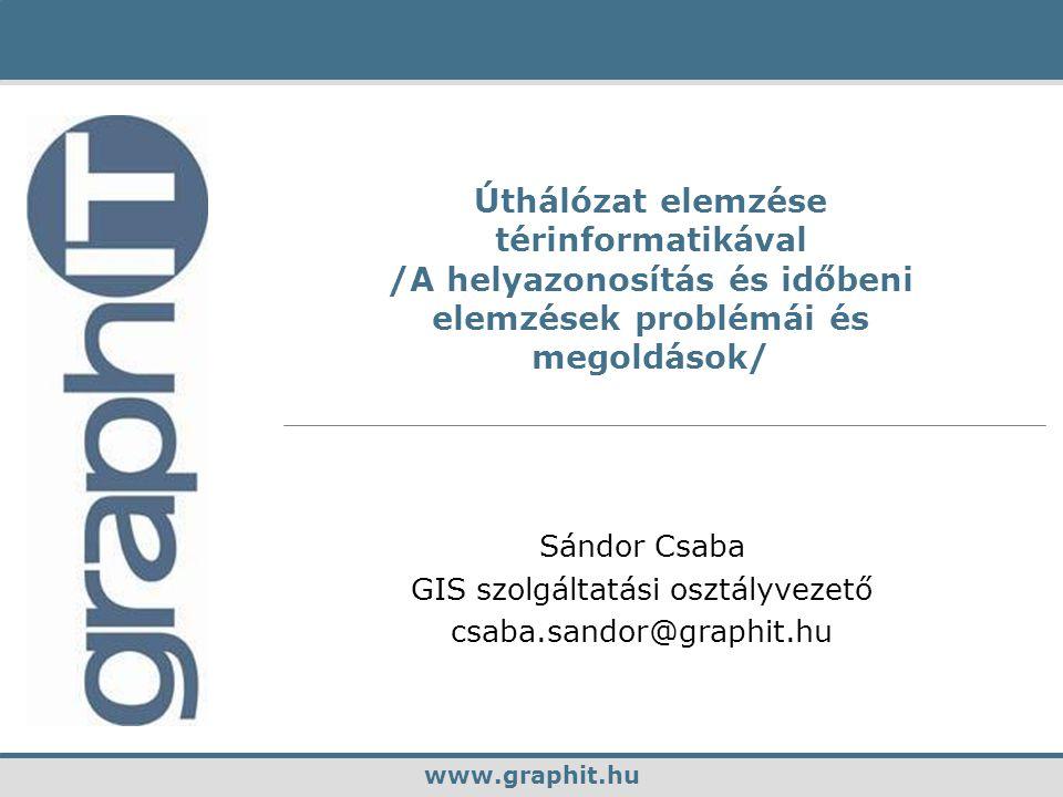 www.graphit.huGeoMedia Transportation Sándor Csaba GIS szolgáltatási osztályvezető csaba.sandor@graphit.hu www.graphit.hu Úthálózat elemzése térinformatikával /A helyazonosítás és időbeni elemzések problémái és megoldások/