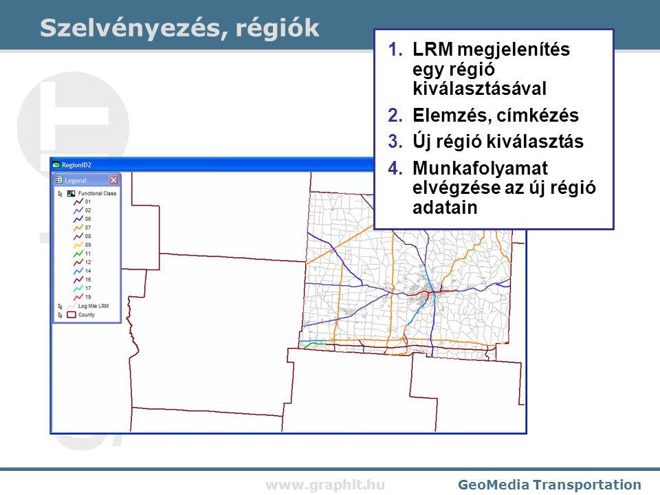 www.graphit.huGeoMedia Transportation Szelvényezés, régiók 1.LRM megjelenítés egy régió kiválasztásával 2.Elemzés, címkézés 3.Új régió kiválasztás 4.Munkafolyamat elvégzése az új régió adatain