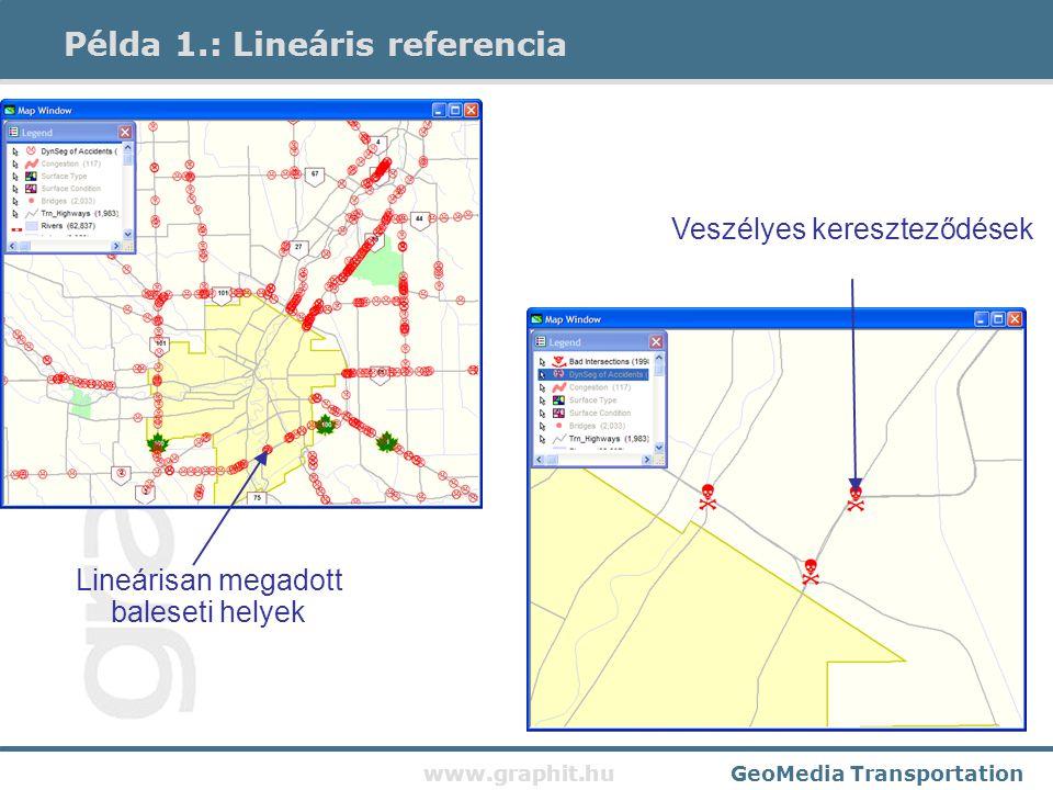 www.graphit.huGeoMedia Transportation Többmegállós útvonaltervezés, optimális sorrend keresés, kereszteződések szerint 5,10 és 15 perces kiszolgálási zónák Példa 2.: Útvonaltervezés