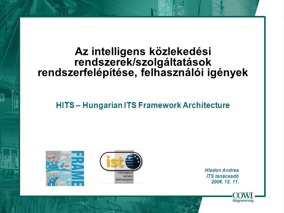 Az intelligens közlekedési rendszerek/szolgáltatások rendszerfelépítése, felhasználói igények HITS – Hungarian ITS Framework Architecture Hladon Andrea ITS tanácsadó 2006.