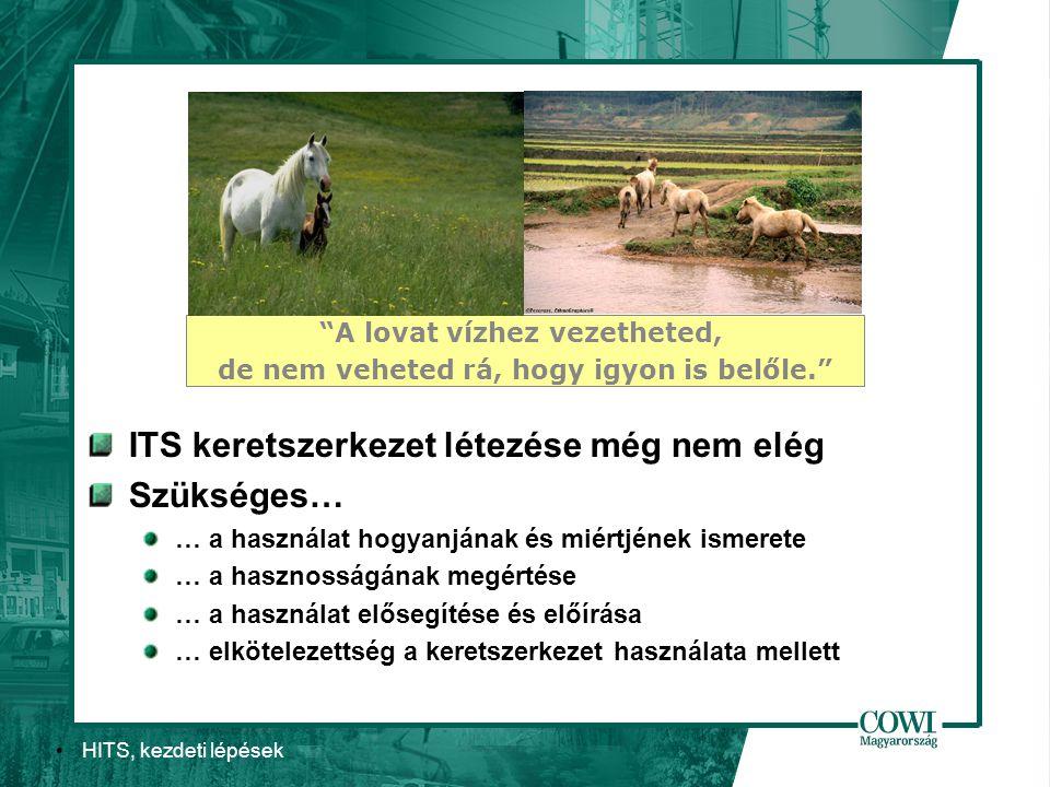 HITS, kezdeti lépések ITS keretszerkezet létezése még nem elég Szükséges… … a használat hogyanjának és miértjének ismerete … a hasznosságának megértése … a használat elősegítése és előírása … elkötelezettség a keretszerkezet használata mellett A lovat vízhez vezetheted, de nem veheted rá, hogy igyon is belőle.