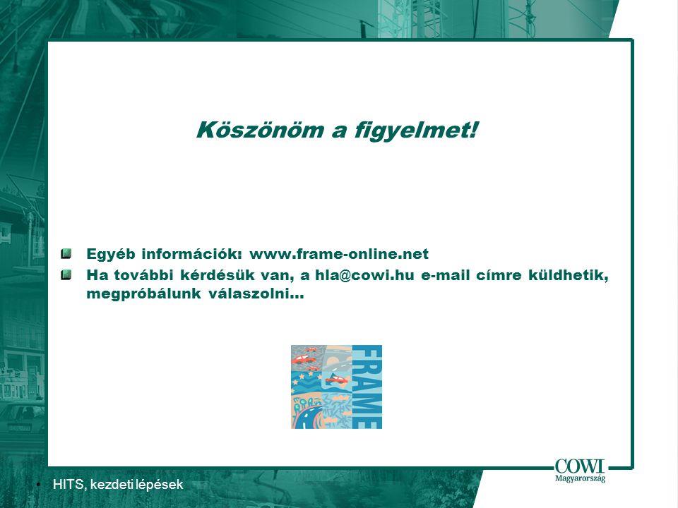 HITS, kezdeti lépések Köszönöm a figyelmet! Egyéb információk: www.frame-online.net Ha további kérdésük van, a hla@cowi.hu e-mail címre küldhetik, meg