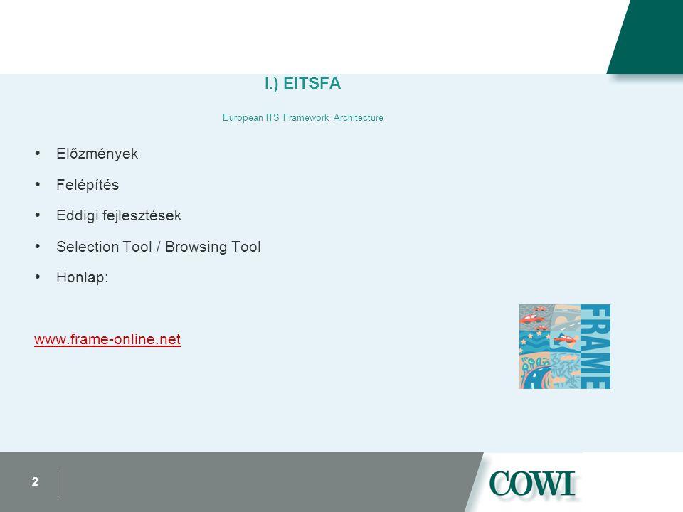 2 I.) EITSFA European ITS Framework Architecture  Előzmények  Felépítés  Eddigi fejlesztések  Selection Tool / Browsing Tool  Honlap: www.frame-online.net