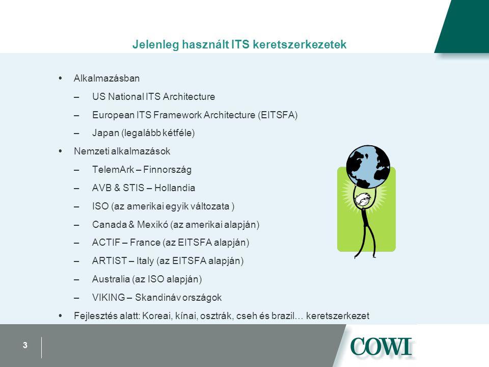 3 Jelenleg használt ITS keretszerkezetek  Alkalmazásban –US National ITS Architecture –European ITS Framework Architecture (EITSFA) –Japan (legalább kétféle)  Nemzeti alkalmazások –TelemArk – Finnország –AVB & STIS – Hollandia –ISO (az amerikai egyik változata ) –Canada & Mexikó (az amerikai alapján) –ACTIF – France (az EITSFA alapján) –ARTIST – Italy (az EITSFA alapján) –Australia (az ISO alapján) –VIKING – Skandináv országok  Fejlesztés alatt: Koreai, kínai, osztrák, cseh és brazil… keretszerkezet