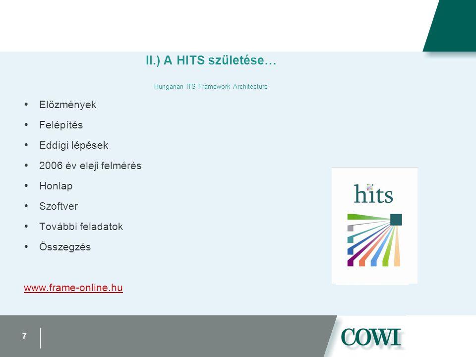 7 II.) A HITS születése… Hungarian ITS Framework Architecture  Előzmények  Felépítés  Eddigi lépések  2006 év eleji felmérés  Honlap  Szoftver  További feladatok  Összegzés www.frame-online.hu
