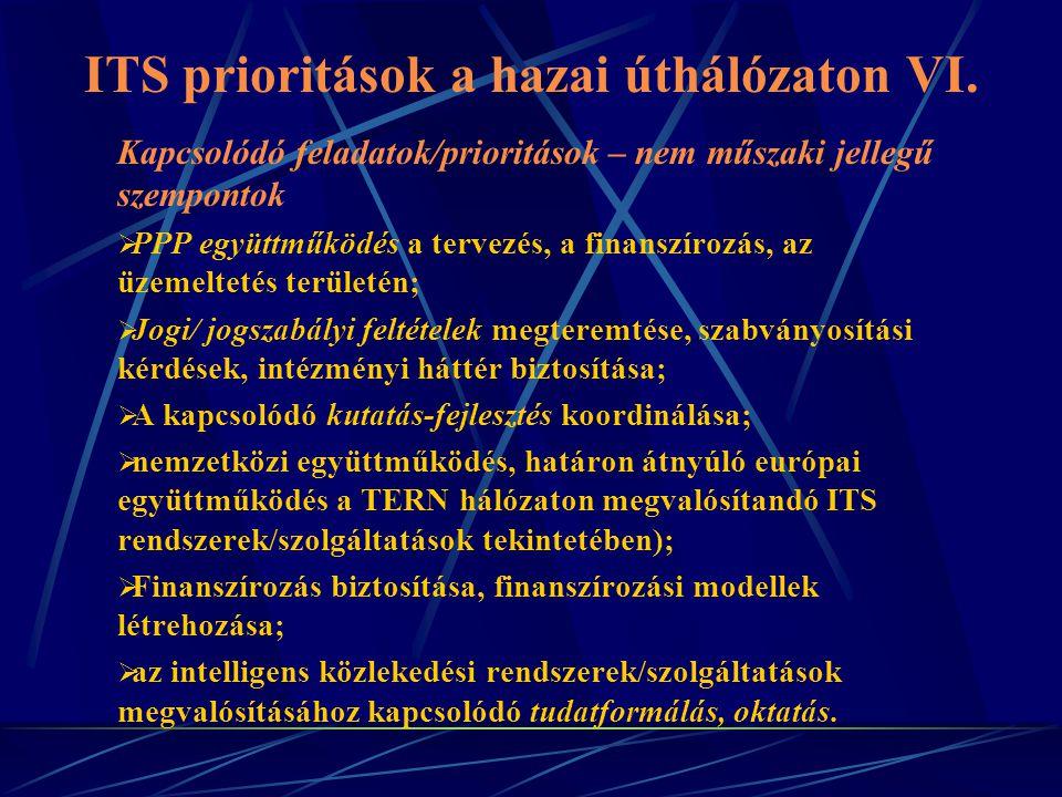 ITS prioritások a hazai úthálózaton VI.