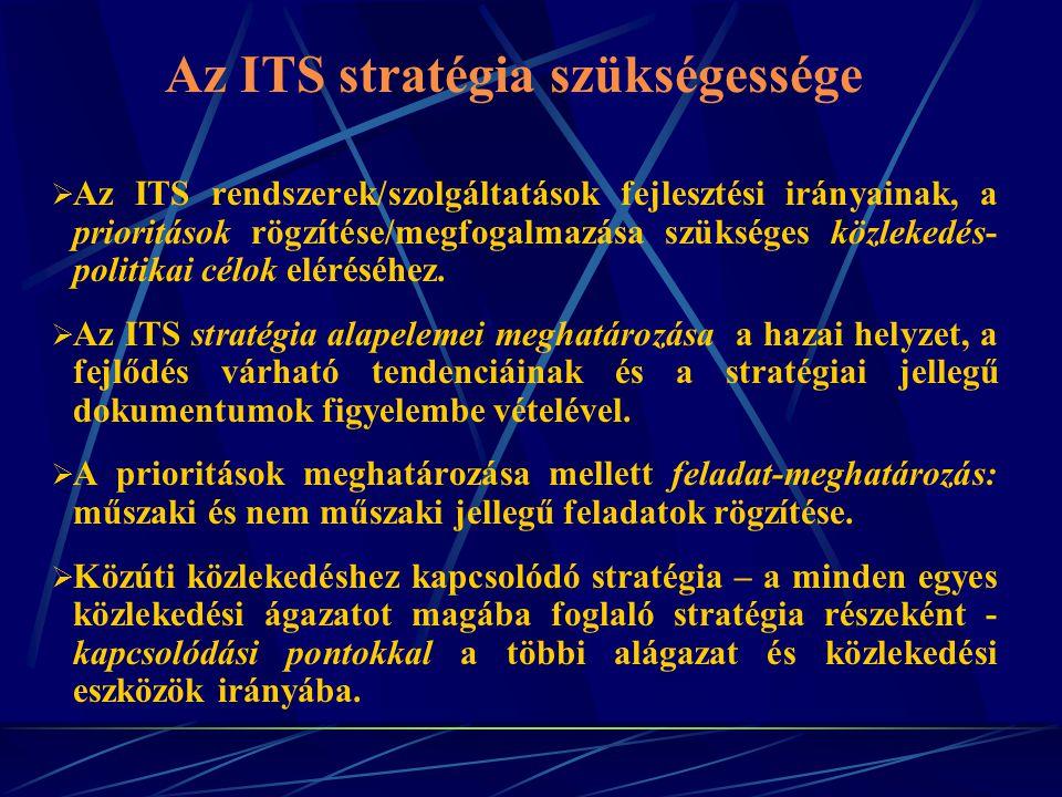 Az ITS stratégia szükségessége  Az ITS rendszerek/szolgáltatások fejlesztési irányainak, a prioritások rögzítése/megfogalmazása szükséges közlekedés- politikai célok eléréséhez.