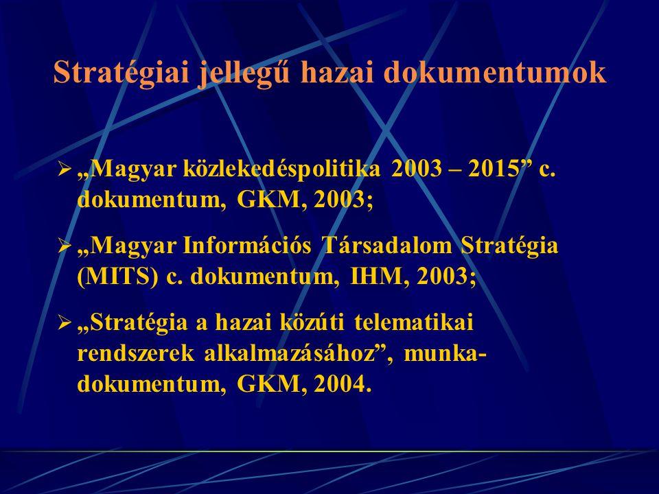 """Stratégiai jellegű hazai dokumentumok  """"Magyar közlekedéspolitika 2003 – 2015"""" c. dokumentum, GKM, 2003;  """"Magyar Információs Társadalom Stratégia ("""
