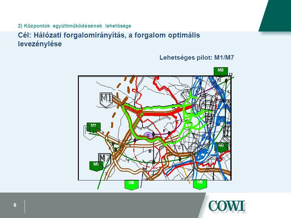6 2) Központok együttműködésének lehetősége Cél: Hálózati forgalomirányítás, a forgalom optimális levezénylése Lehetséges pilot: M1/M7