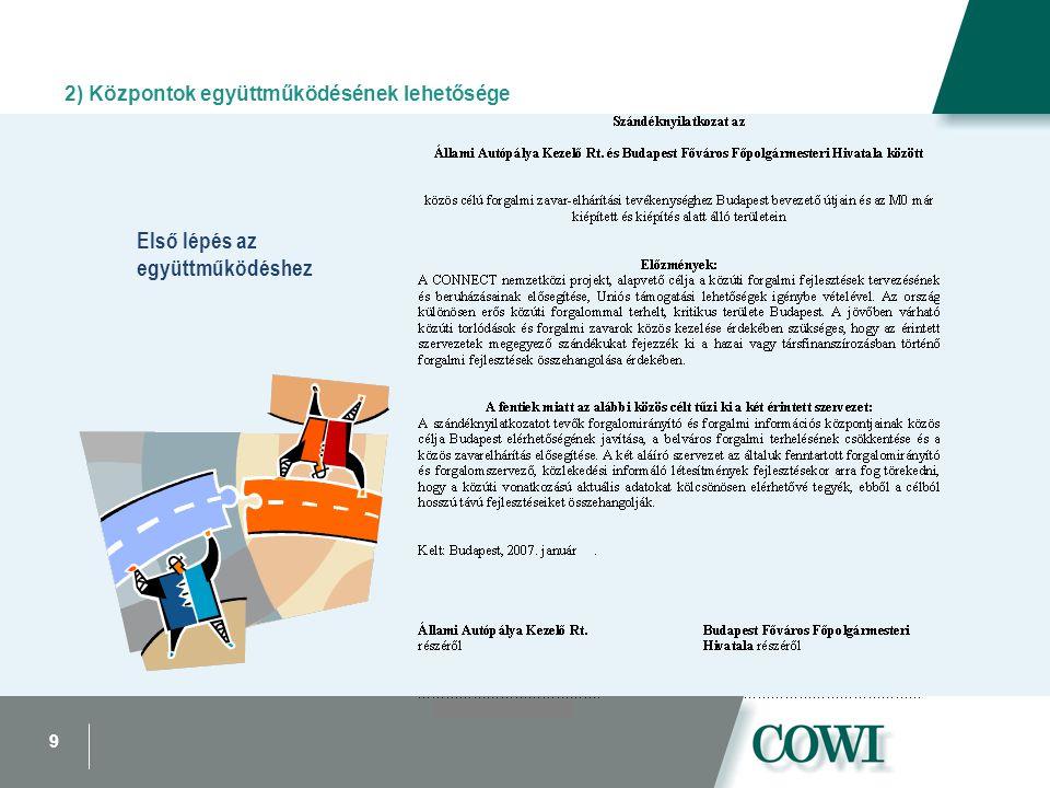 9 Első lépés az együttműködéshez 2) Központok együttműködésének lehetősége