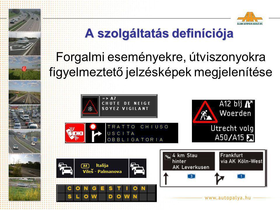 A szolgáltatás definíciója Forgalmi eseményekre, útviszonyokra figyelmeztető jelzésképek megjelenítése