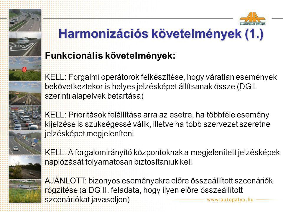 Harmonizációs követelmények (1.) Funkcionális követelmények: KELL: Forgalmi operátorok felkészítése, hogy váratlan események bekövetkeztekor is helyes jelzésképet állítsanak össze (DG I.