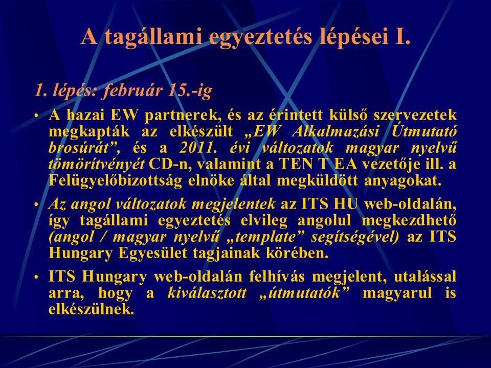 A tagállami egyeztetés lépései I. 1.