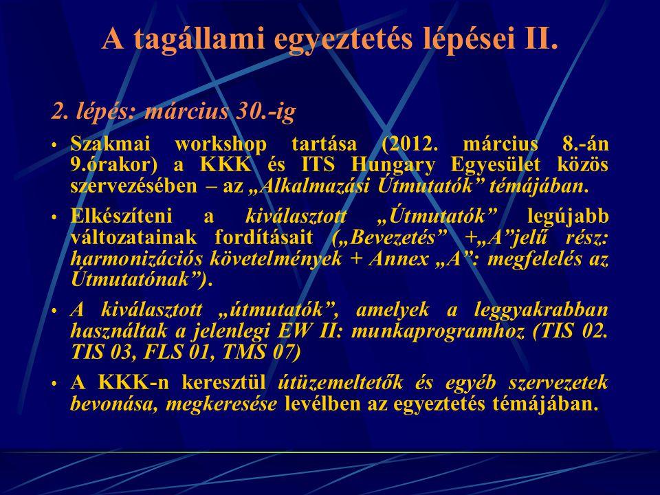 A tagállami egyeztetés lépései II. 2. lépés: március 30.-ig Szakmai workshop tartása (2012.