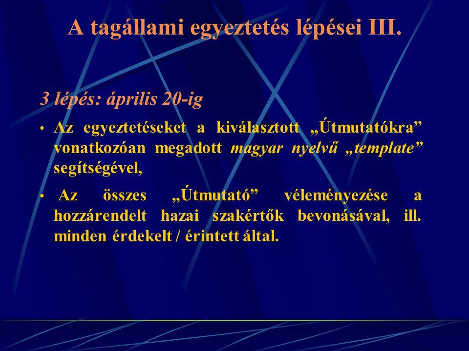 A tagállami egyeztetés lépései III.