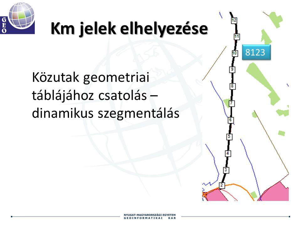 8123 Km jelek elhelyezése Közutak geometriai táblájához csatolás – dinamikus szegmentálás