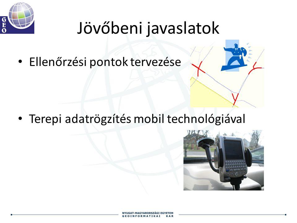 Jövőbeni javaslatok Ellenőrzési pontok tervezése Terepi adatrögzítés mobil technológiával