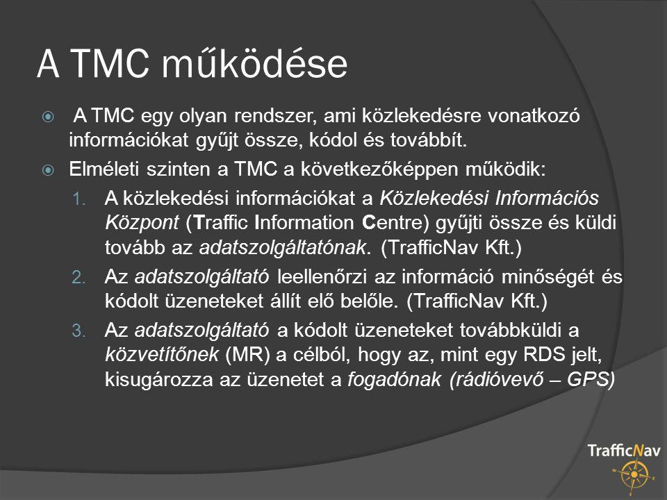  A TMC egy olyan rendszer, ami közlekedésre vonatkozó információkat gyűjt össze, kódol és továbbít.  Elméleti szinten a TMC a következőképpen működi