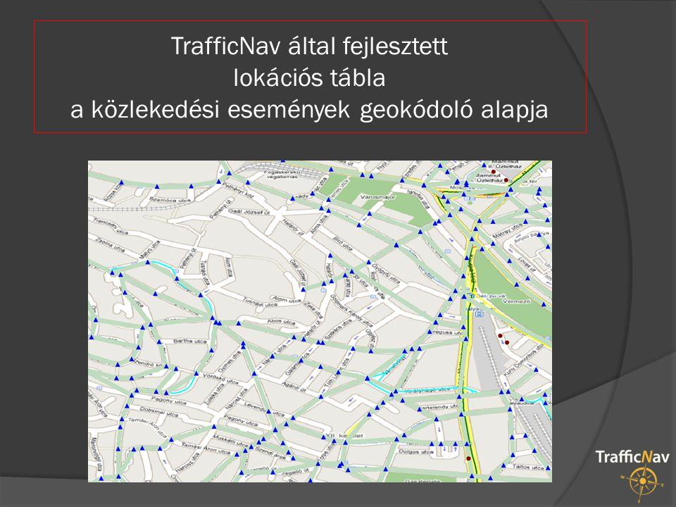 TrafficNav által fejlesztett lokációs tábla a közlekedési események geokódoló alapja