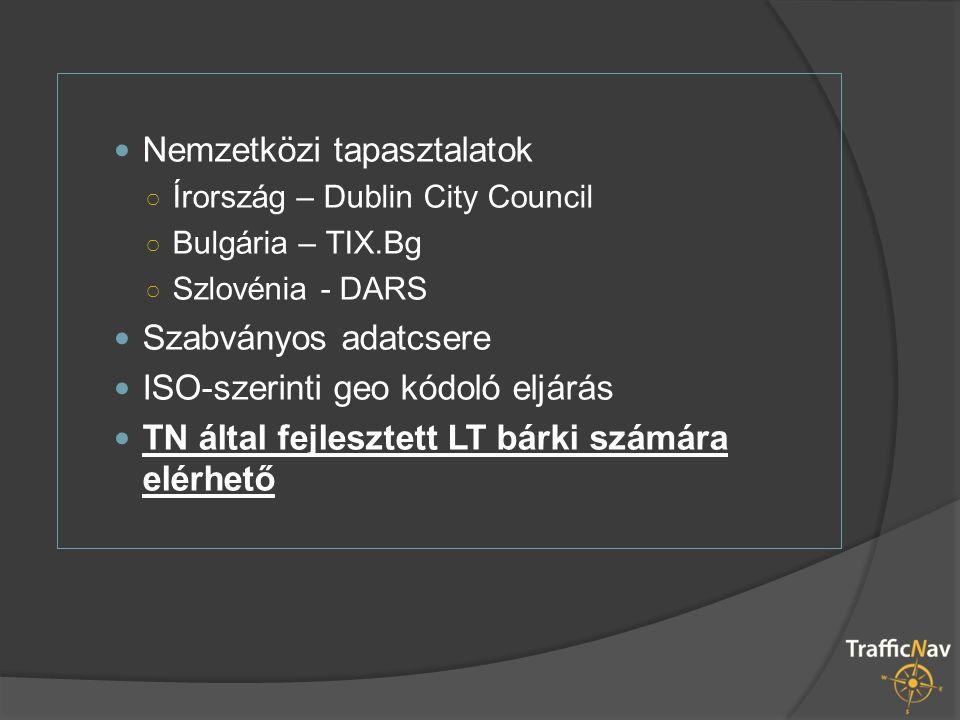 Nemzetközi tapasztalatok ○ Írország – Dublin City Council ○ Bulgária – TIX.Bg ○ Szlovénia - DARS Szabványos adatcsere ISO-szerinti geo kódoló eljárás TN által fejlesztett LT bárki számára elérhető