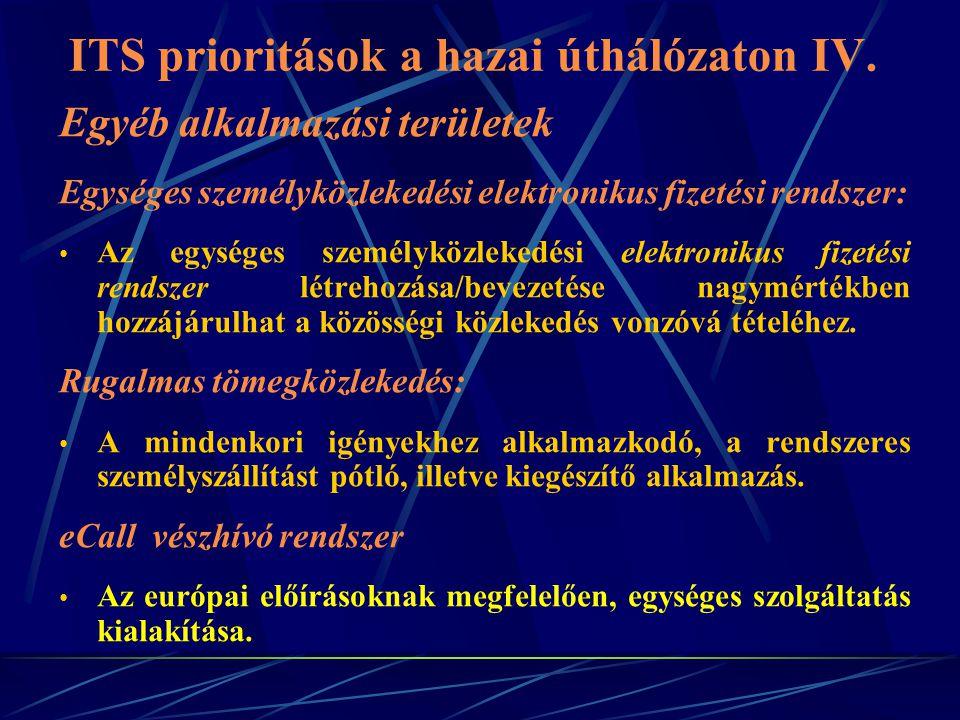 ITS prioritások a hazai úthálózaton IV.