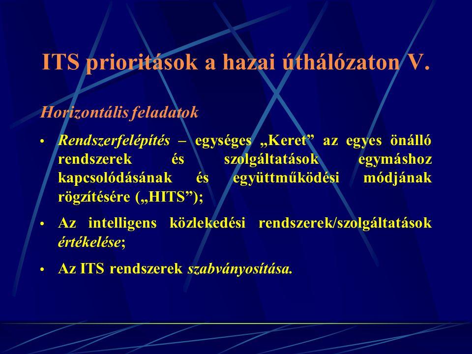 ITS prioritások a hazai úthálózaton V.