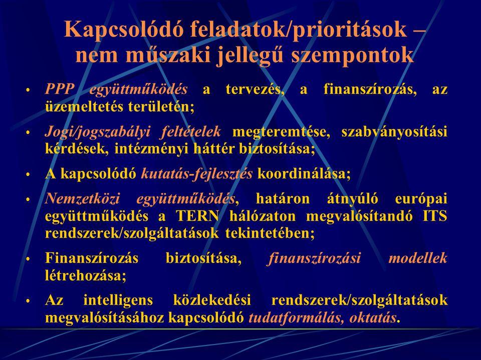 PPP együttműködés a tervezés, a finanszírozás, az üzemeltetés területén; Jogi/jogszabályi feltételek megteremtése, szabványosítási kérdések, intézményi háttér biztosítása; A kapcsolódó kutatás-fejlesztés koordinálása; Nemzetközi együttműködés, határon átnyúló európai együttműködés a TERN hálózaton megvalósítandó ITS rendszerek/szolgáltatások tekintetében; Finanszírozás biztosítása, finanszírozási modellek létrehozása; Az intelligens közlekedési rendszerek/szolgáltatások megvalósításához kapcsolódó tudatformálás, oktatás.