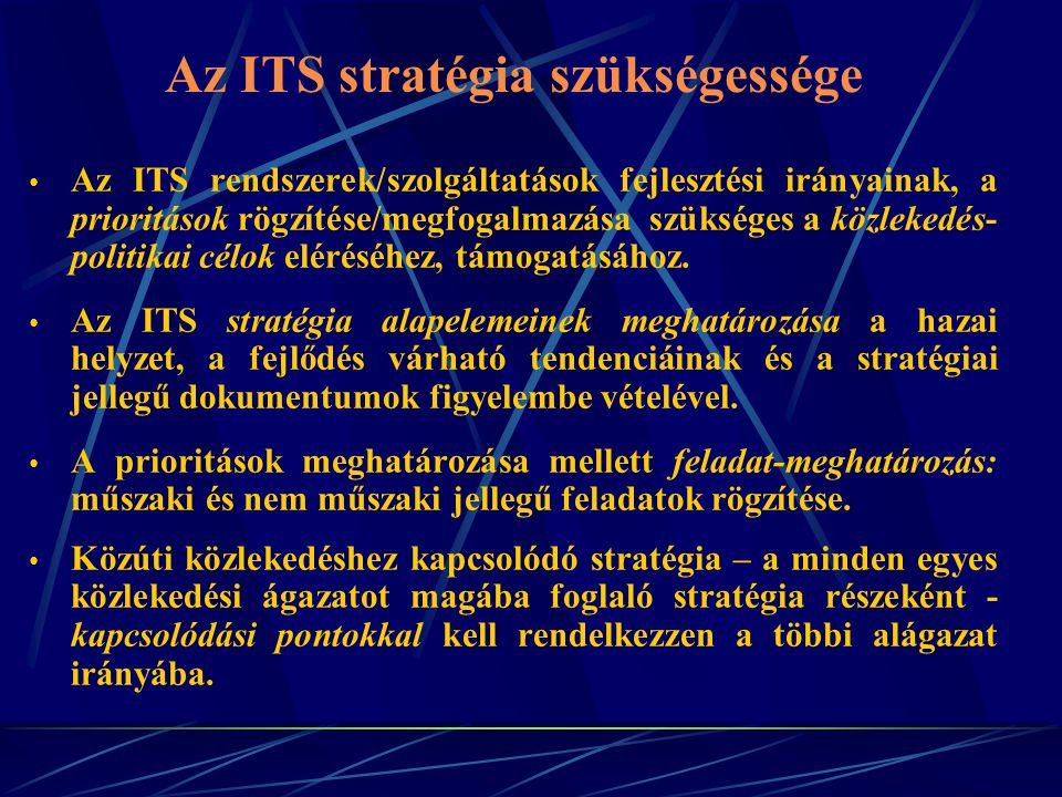 Az ITS stratégia szükségessége Az ITS rendszerek/szolgáltatások fejlesztési irányainak, a prioritások rögzítése/megfogalmazása szükséges a közlekedés- politikai célok eléréséhez, támogatásához.