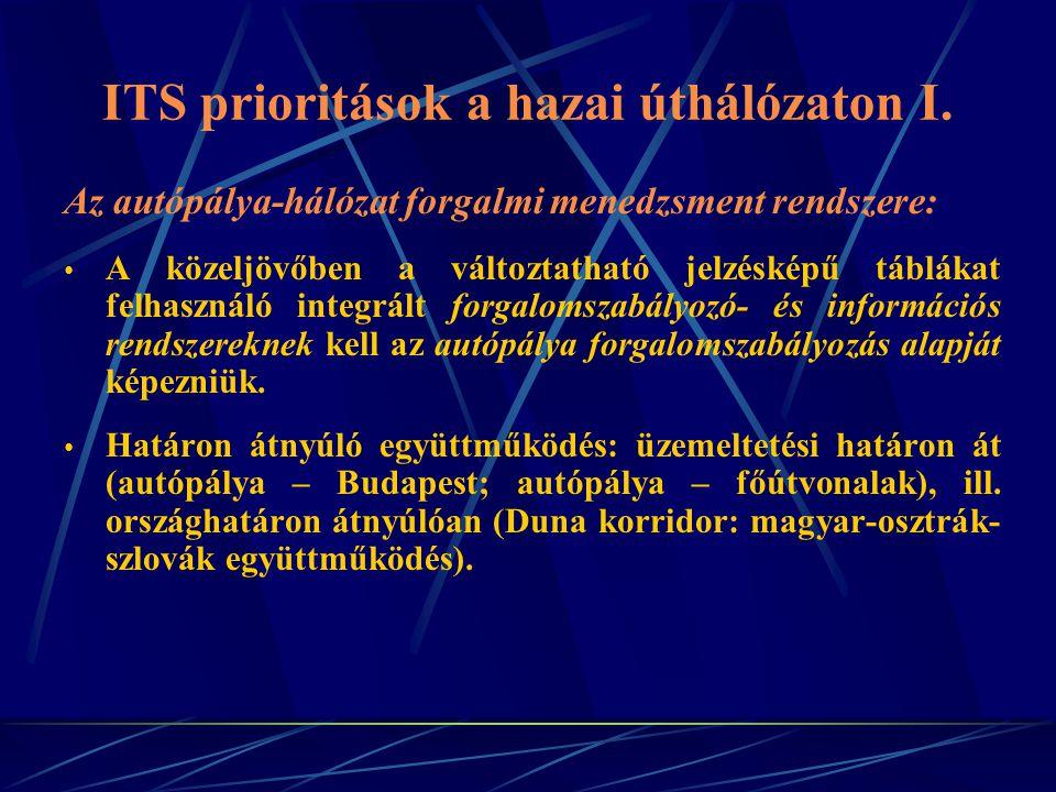 ITS prioritások a hazai úthálózaton II.
