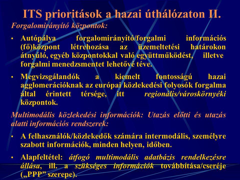 ITS prioritások a hazai úthálózaton III.