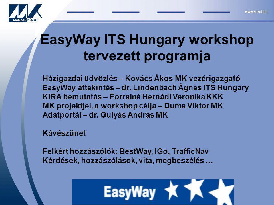 EasyWay ITS Hungary workshop tervezett programja Házigazdai üdvözlés – Kovács Ákos MK vezérigazgató EasyWay áttekintés – dr.