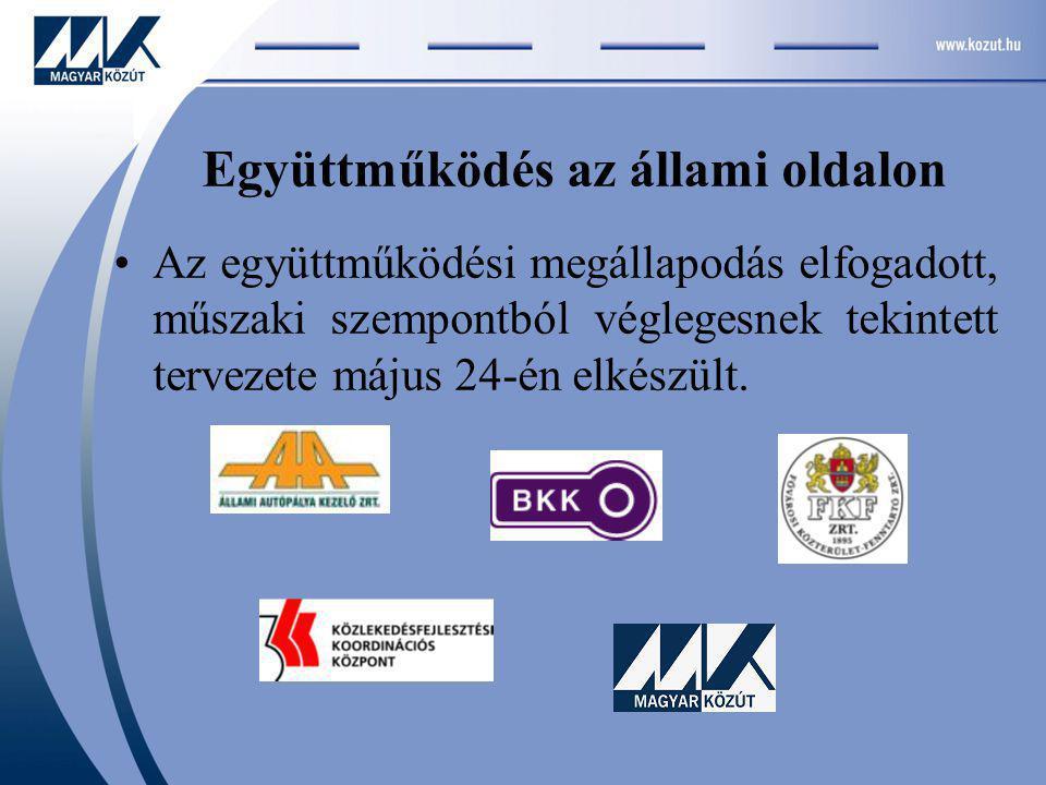 Együttműködés az állami oldalon Az együttműködési megállapodás elfogadott, műszaki szempontból véglegesnek tekintett tervezete május 24-én elkészült.