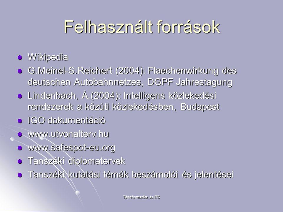 Térinformatika és ITS Felhasznált források Wikipedia Wikipedia G.Meinel-S.Reichert (2004): Flaechenwirkung des deutschen Autobahnnetzes, DGPF Jahresta