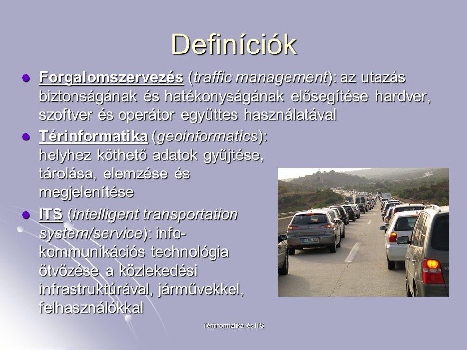 Térinformatika és ITS Definíciók Forgalomszervezés (traffic management): az utazás biztonságának és hatékonyságának elősegítése hardver, szoftver és operátor együttes használatával Forgalomszervezés (traffic management): az utazás biztonságának és hatékonyságának elősegítése hardver, szoftver és operátor együttes használatával Térinformatika (geoinformatics): helyhez köthető adatok gyűjtése, tárolása, elemzése és megjelenítése Térinformatika (geoinformatics): helyhez köthető adatok gyűjtése, tárolása, elemzése és megjelenítése ITS (intelligent transportation system/service): info- kommunikációs technológia ötvözése a közlekedési infrastruktúrával, járművekkel, felhasználókkal ITS (intelligent transportation system/service): info- kommunikációs technológia ötvözése a közlekedési infrastruktúrával, járművekkel, felhasználókkal