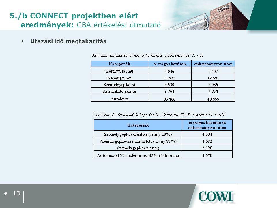 #  Utazási idő megtakarítás 13 5./b CONNECT projektben elért eredmények: CBA értékelési útmutató