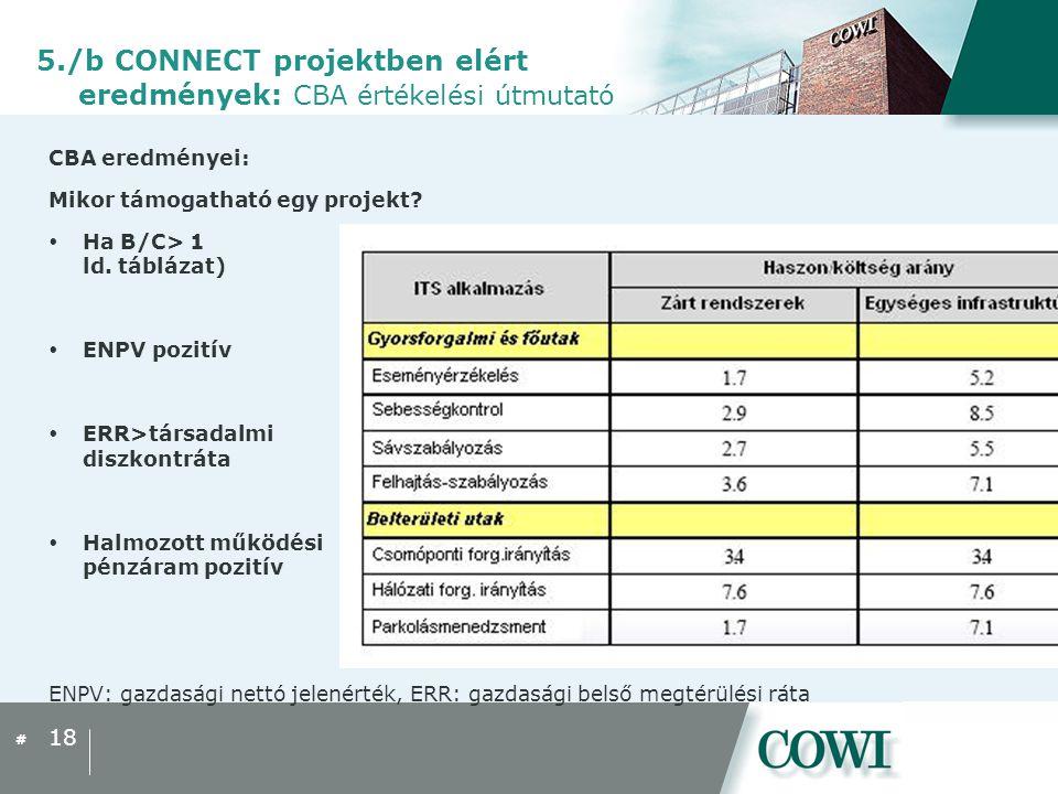 # CBA eredményei: Mikor támogatható egy projekt.  Ha B/C> 1 ld.