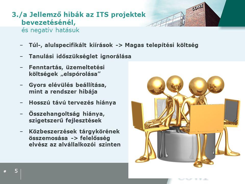 # 3./b Megoldási lehetőségek –Különválasztott közbeszerzés (beton ≠ vezeték) –Gondos tervezés:  Átgondolt beruházások, koncepció kidolgozása már az IVS- ekben,  hosszú távú fejlesztési tervek  HITS használata (Hungarian ITS Framework Architecture – Magyar ITS keretszerkezet) –Megfelelő kontrol melletti bevezetés –Különválasztott mérnöki (ellenőri) tevékenység (útügyi műszaki ellenőr ≠ ITS műszaki ellenőr) –Karbantartás kiszervezése, illetve üzemeltetési költség biztosítása –Előzetes és utólagos értékelések: hasznosság igazolása  TEMPO/CBA értékelési útmutató 6